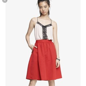 LOT 2 EXPRESS Red Skirt Lace Camisole Tank Top EUC